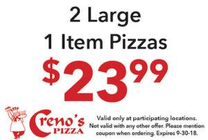 2 Large 1 Item Pizzas