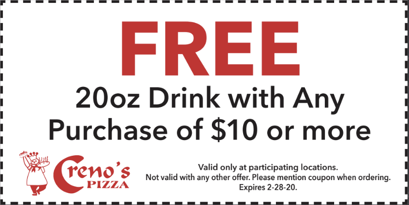 Free 20oz drink with any purchase of $10 or more